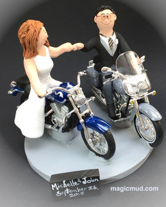 Harley-Davidson Motorcycles Wedding Cake Topper Custom Made to your specifications. Made just for your wedding day! Both the bride and groom are riding their own harley motorcycles!!  any style of motorcycle can be incorporated,,,a dirt bike, road bike, sport bike, Honda, Suzuki,Yamaha, Kawasaki #magicmud, $235  1800 231 9814 www.magicmud.com