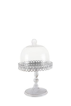 """Looking for a sophisticated wedding gift or just want to showcase your high tea treats, then this silver footed cake stand with a scalloped edge and glass dome is ideal.<div class=""""pdpDescContent""""><BR /><b class=""""pdpDesc"""">Dimensions:</b><BR />L19.5xH20 cm</div>"""