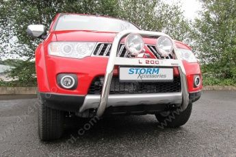 Mitsubishi L200 Mk6 2009> Stainless Steel High A-Bar with Name 63mm
