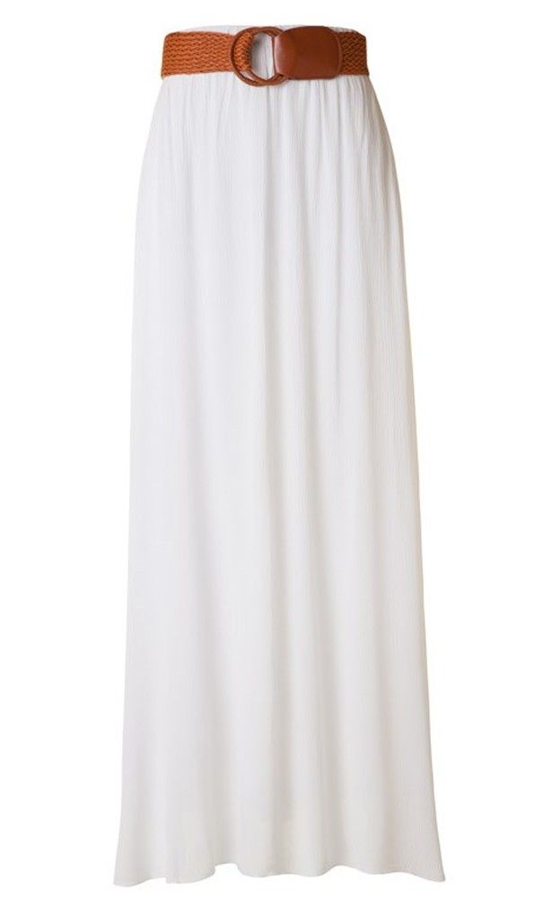 Womens Modest Solid Color Gauze Maxi Skirts Belted