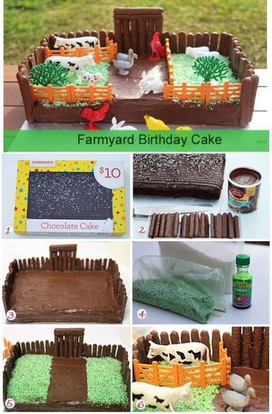 Chocolate cake, green icing, finger biscuits + plastic farm toys = Cute Farmyard birthday cake!