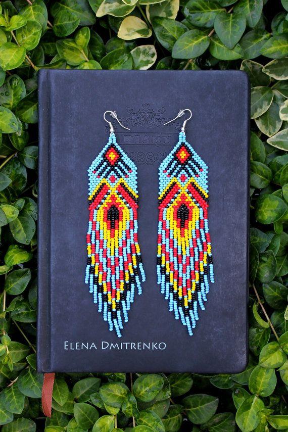 Bleu d'amérindienne perles Boucles par HelenDmitrenkoShop sur Etsy