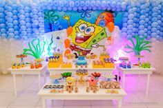 Inspiração Aniversário Infantil Bob Esponja - Para mais fotos, clique na imagem  / Inspiration Children's Birthday SpongeBob - For more photos, click the image.