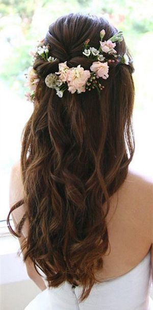 Half to the top half down Wedding hairstyles with flowers