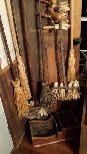 Collection of prim brooms...