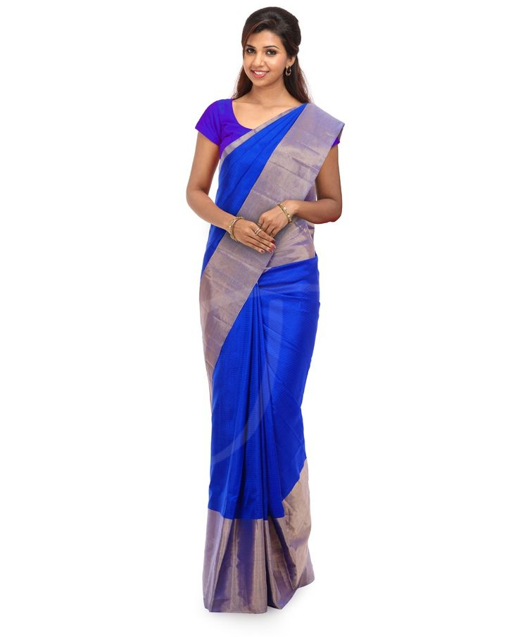 Silk Saree Royal blue self check silk with traditionally designed pallu with border INR 6280