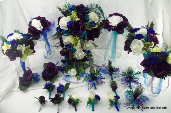 Royal Peacock Wedding Silk Bridal Bouquets, Boutonnieres, Corsages Blue,Teal, Green, Pruple Wedding Flowers 20 Piece Custom Made to Order