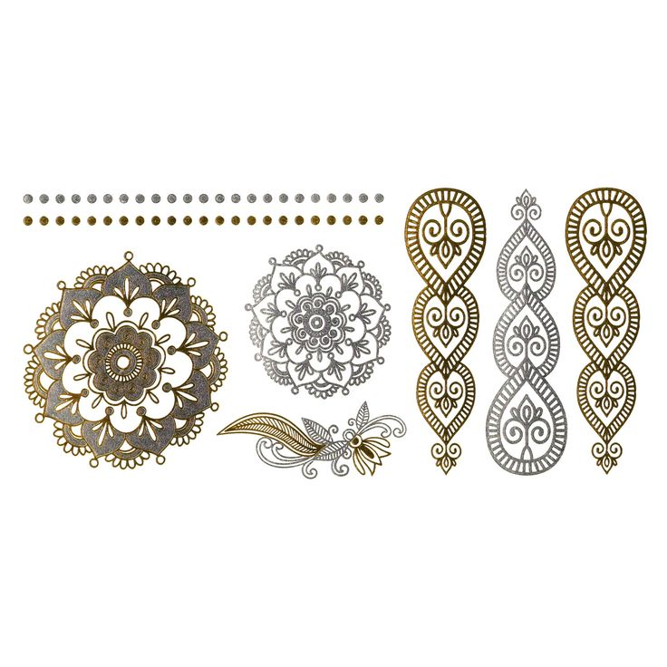 Henna inspired metallic temporary tattoo sheet - Gold Silver Tattoo - Tattoo Jewelry - tats -metallic tattoos - gold henna - flash by intheyear1967 on Etsy