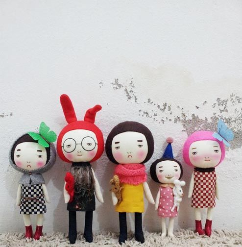 EEching handmade dolls http://knuffelsalacarteblog.blogspot.nl/ super cute japanese zakka style plushie dolls their cool and funky love the one with rabbit ears and specs