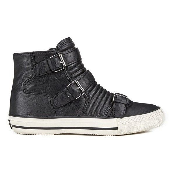Ash Women's Volt Buckle Ribbed Leather High Top Trainers - Black (165 AUD) ❤ liked on Polyvore featuring shoes, sneakers, black, leather high top sneakers, leather hi top sneakers, black sneakers, black hi tops and ash sneakers