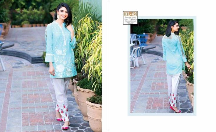 #Womens #Fashion #Pakistani #Designer #Suits #Haute #Couture for #work - #Sky Blue #Shirt #White #Bottom #Embroidered #premium #lawn #Kurtis