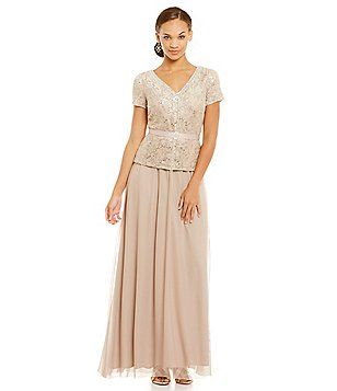 R & M Richards 2-Piece Beaded Lace Gown