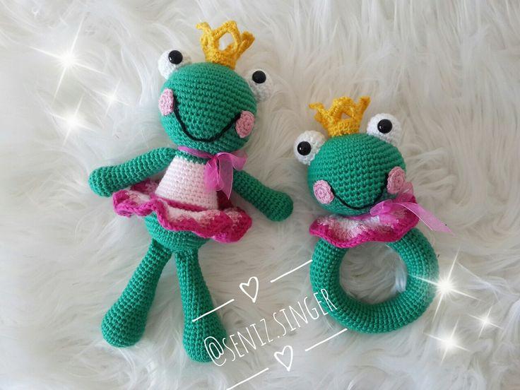 Amigurumi Kurbağa prenses ve çıngırak  Amigurumi Frog amigurumi rattle