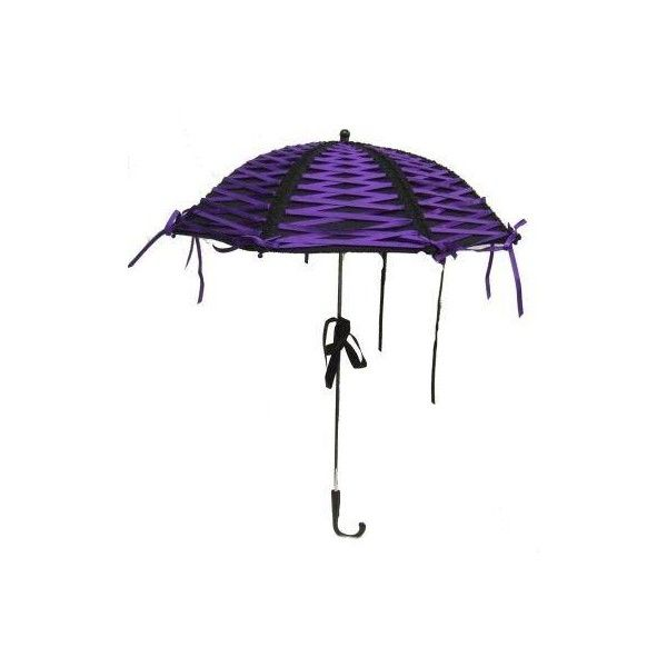 Phaze - Canvas Ribbon Parasol - Black / Purple : Gothic Clothing, New... ❤ liked on Polyvore featuring accessories, umbrellas, umbrella, parasol, purple, corset, canvas umbrella, goth umbrella, gothic umbrella and purple umbrella