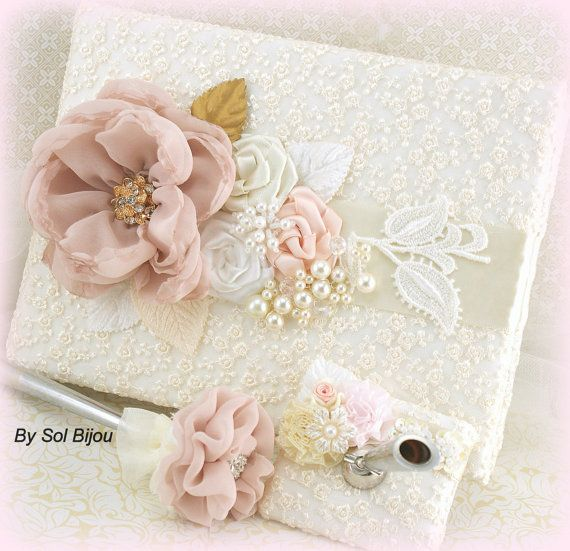Wedding Guest Book Pen Set Signature Book in Blush by SolBijou, $130.00 (except with antique rose color and music)