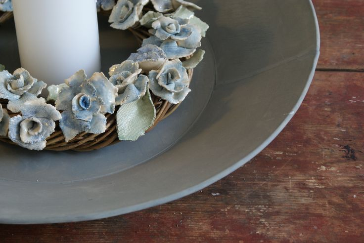 Hand made ceramic rose wreath