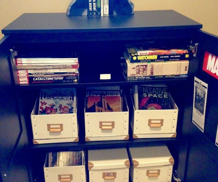 "I've looked high and low for a comic book storage solution that is ANYTHING but short/long boxes and I finally came up with this set up as a nice alternative. I like this cabinet because it has doors and the shelves adjusted to roughly 11""-12"" which is just enough room to let the comics stand completely upright. I wanted the comics to be standing so that I could use dividers to separate the different titles so that I could quickly flip through to find a particular title. I also upl..."