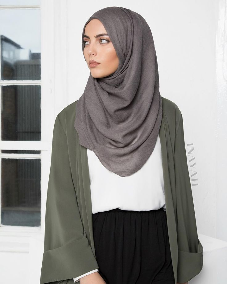 """- Go from workwear to an off-duty weekend look in an instant. White Crepe Top Black Maxi Skirt Olive Midi Kimono Throw Charcoal Modal Hijab…"""