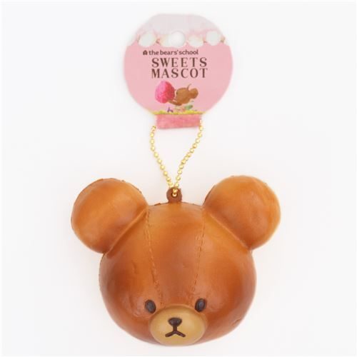 brown teddy bear bread bun brown squishy cellphone charm - Squishies - kawaii shop modeS4u