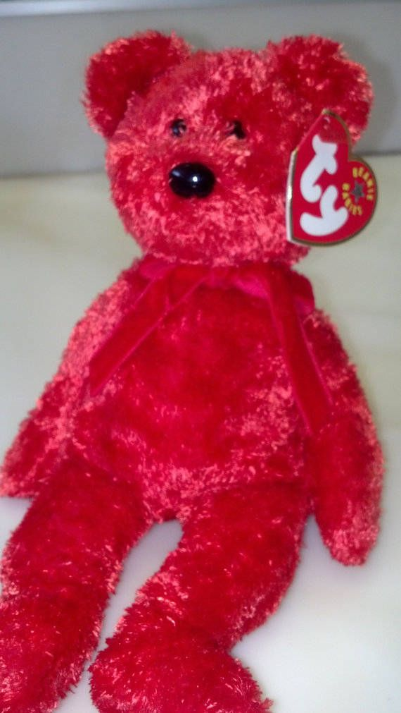 TY Red Bear SIZZLE Retired Collectible Rare Beanie Baby Christmas Gift Stocking Stuffer Girl Boy Birthday Children Bedroom / Holiday Decor by ButterscotchCottage on Etsy