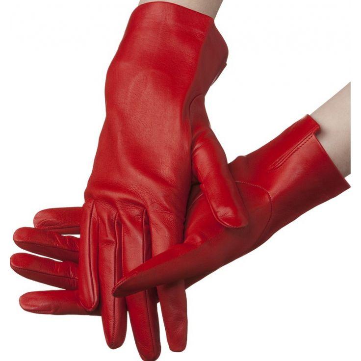 Flora – unlined lambskin gloves in red