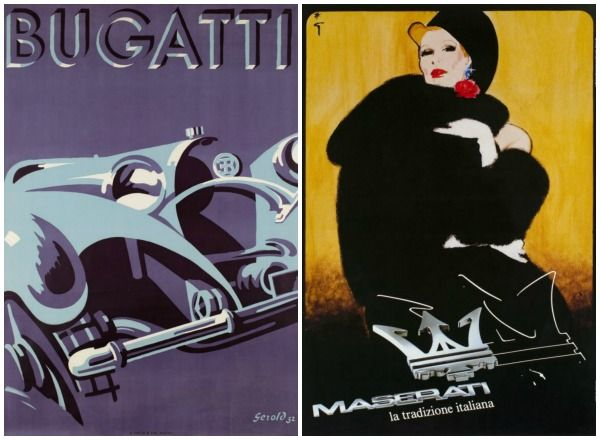 Vintage automotive posters highlight glamour and speed.
