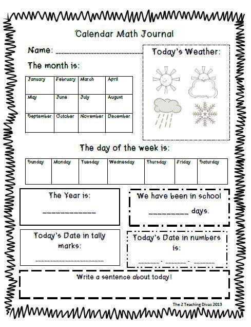 Calendar Ideas For Teachers : I like the idea of a math journal and daily calendar
