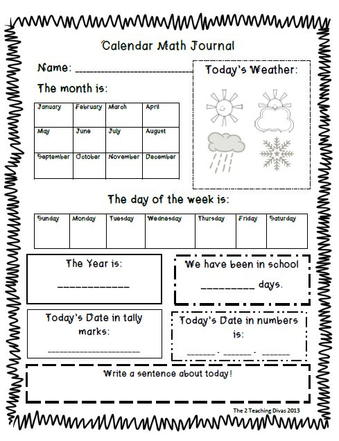 Kindergarten Calendar Routine Ideas : I like the idea of a math journal and daily calendar