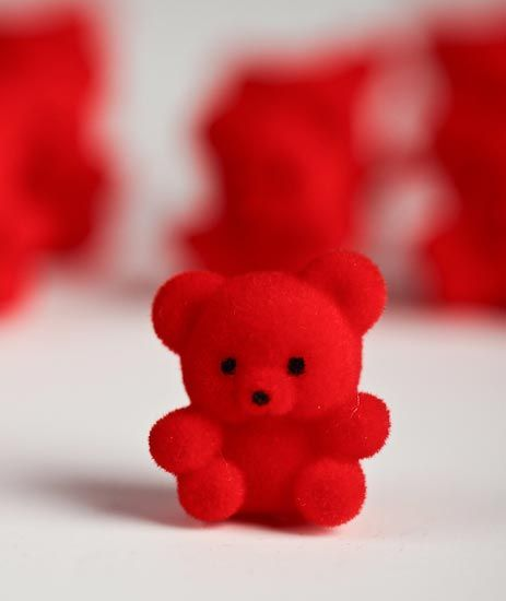 Miniature Red Flocked Teddy Bears Red Aesthetic Red