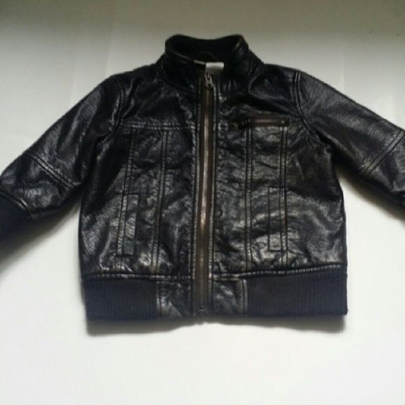 Boys leather jacket All black rusty leather jacket, excellent condition, size 18 months Jackets & Coats