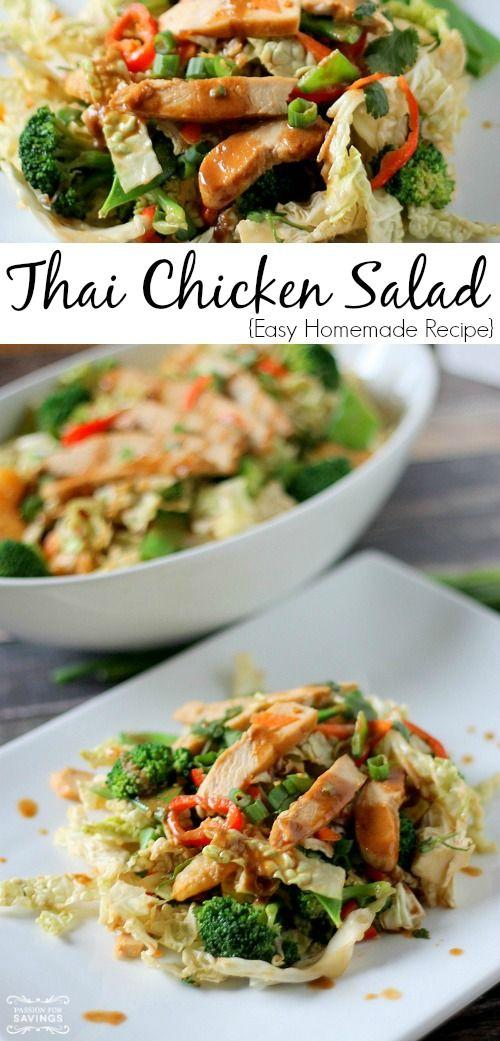 Easy Thai Chicken Salad Recipe! | http://www.passionforsavings.com/easy-thai-chicken-salad-recipe/