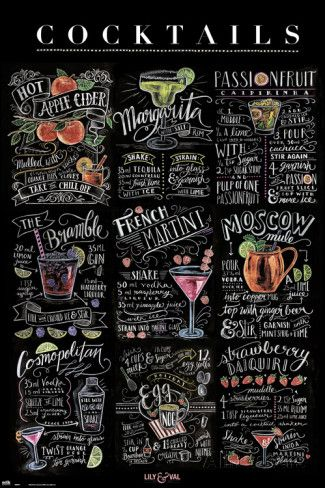 Lily & Val- Cocktails Affiches par Valerie McKeehan sur AllPosters.fr