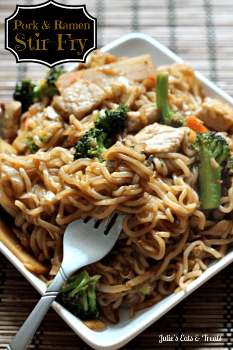 Pork, ramen, and stir fry. All good things. Get the recipe from Julie's Eats and Treats. - Delish.com