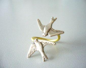 Beetje zilveren vogel ring ring van de vogel takje ring
