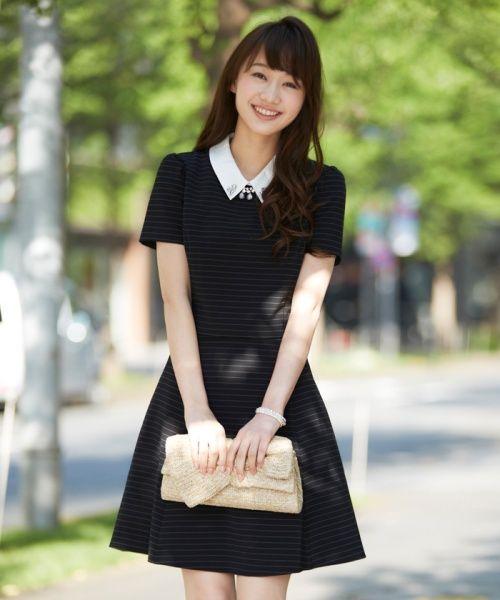 LAISSE PASSE(レッセ・パッセ)/シャツ衿付きボーダーワンピース/321144252