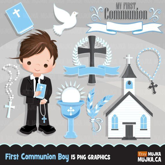 First Communion Clipart For Boys Cute Communion Characters Etsy Communion Banner First Communion First Communion Banner