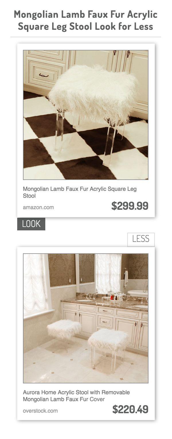Mongolian Lamb Faux Fur Acrylic Square Leg Stool Vs Aurora