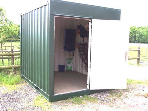Upcycled Shipping Container Tack Room - Possible idea for Schooling Tack room, Feed room, Hay storage etc?