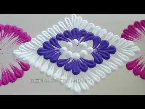 Very very easy and simple rangoli design by DEEPIKA PANT - YouTube