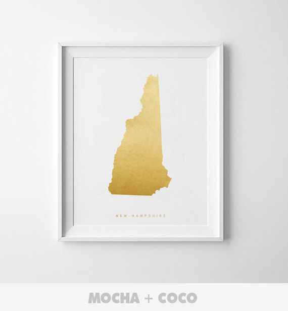 New Hampshire Gold Map Print US State PosterState by MochaAndCoco