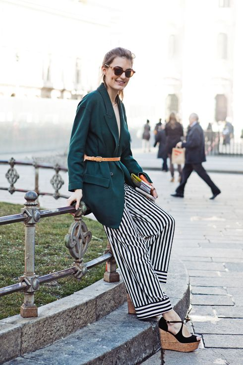MILAN, SPRING, WOMENStyle Wide, Legs Trousers, Stripes Pants, Fashion, The White Stripes, Street Style, Wide Legs, Platform Shoes, Streetstyle Stripes