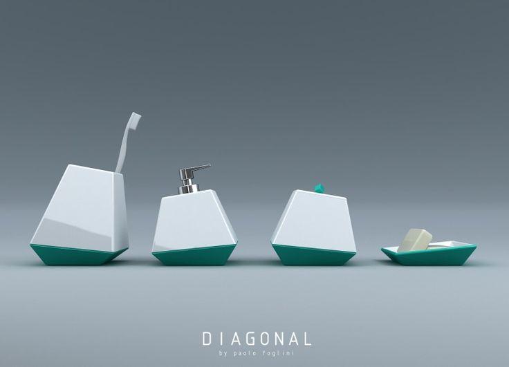 Diagonal è un set di accessori bagno in ceramica dalle linee semplici ed essenziali che grazie alle loro inclinazioni trasmettono dinamismo agli oggetti stessi. Il set è composto da un porta spazzolini, porta sapone liquido, porta oggetti e infine porta saponetta.