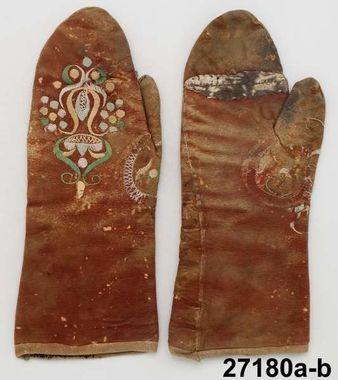 Handskar, Brudhandskar, Kyrkvantar Produktion 1778 enl. givaren Brukningsort: Sverige (SE)  Östergötland  Ydre hd  Norra Vi Identifier NM.0027180A-B Nordiska museet