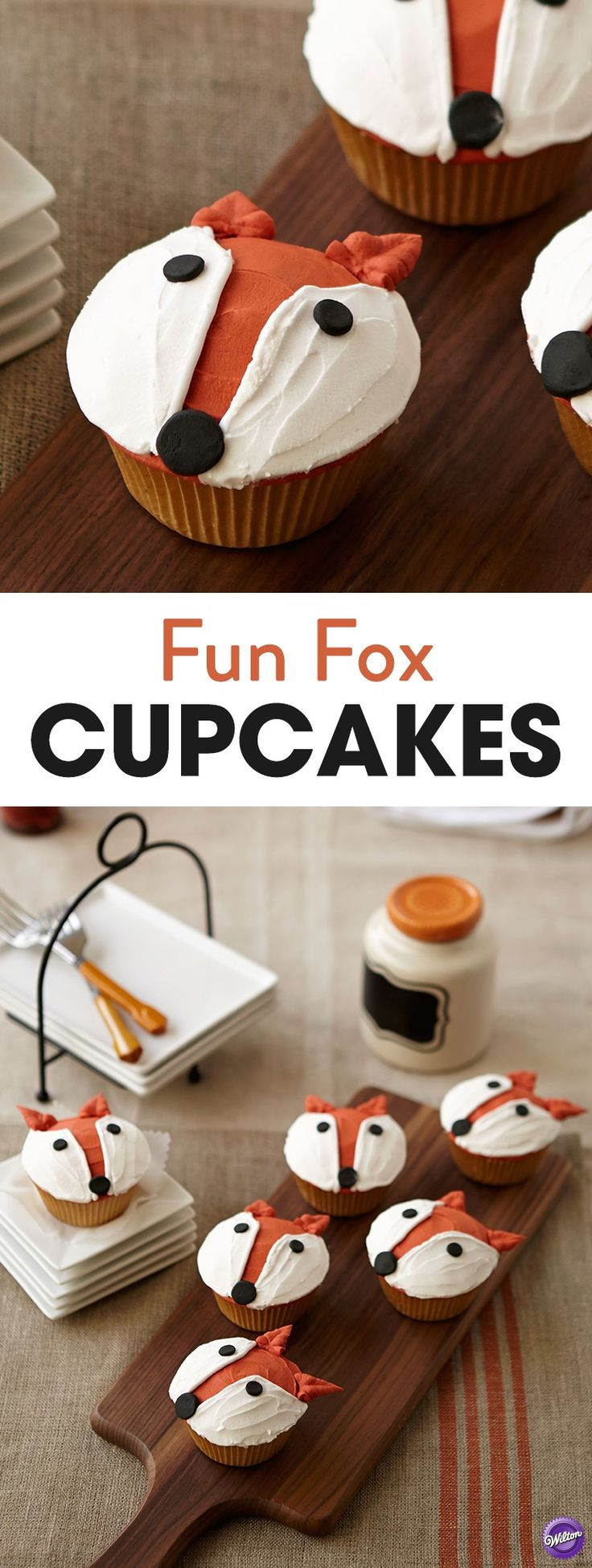 Fun Fox Cupcakes - Using simple decorating techniques of dots for facial features and pull-out leaves for ears, these fun Fox Cupcakes will be perfect for a woodland-themed party!