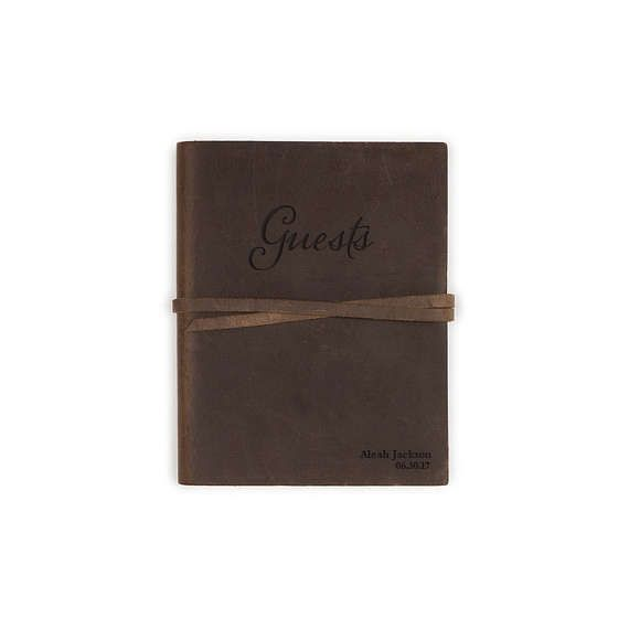 Brown Leather Guest Book 5.25 x 6.75 Graduation