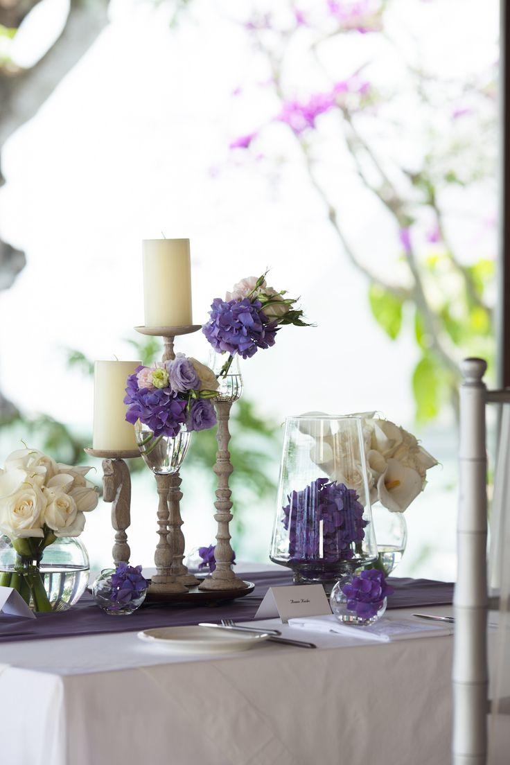 Dinner table in purple and white hue by Tirtha Bridal Uluwatu Bali