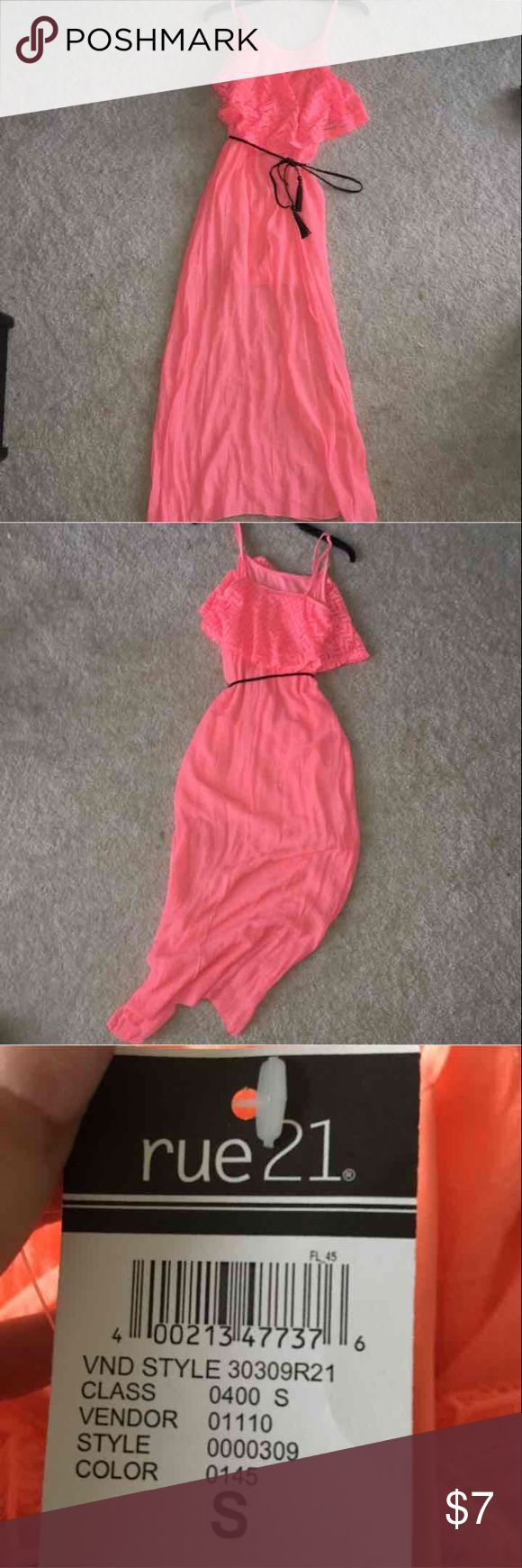CORAL MAXI DRESS WITH BELT new with tags! Rue 21 Dresses Maxi