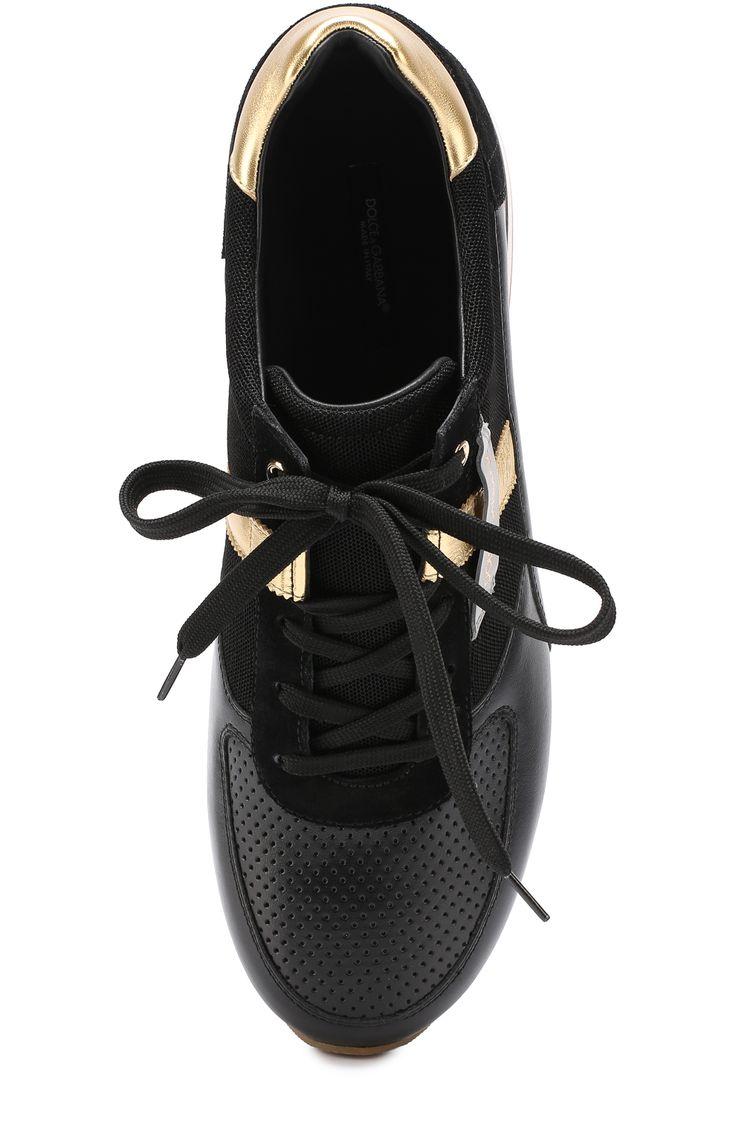 Мужские черные кожаные кроссовки с контрастной отделкой и перфорацией Dolce & Gabbana, сезон SS 2017, арт. 0111/CS1453/AE933 купить в ЦУМ | Фото №5