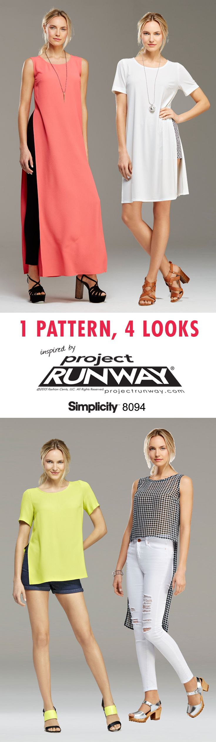 Sew a knit tunic that can be worn in a variation of lengths, with or without slits and pockets with Simplicity pattern 8094 inspired by Project Runway! The pattern also includes shorts and leggings.