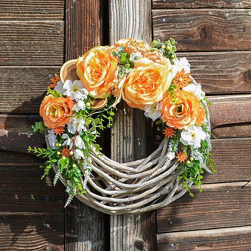 Hydrangea / Oranžovo-biely veniec na dvere